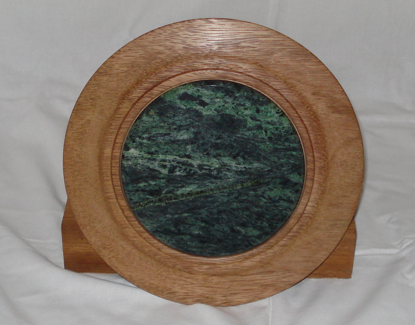 Round Mahogany  Platter with Green marble Tile insert