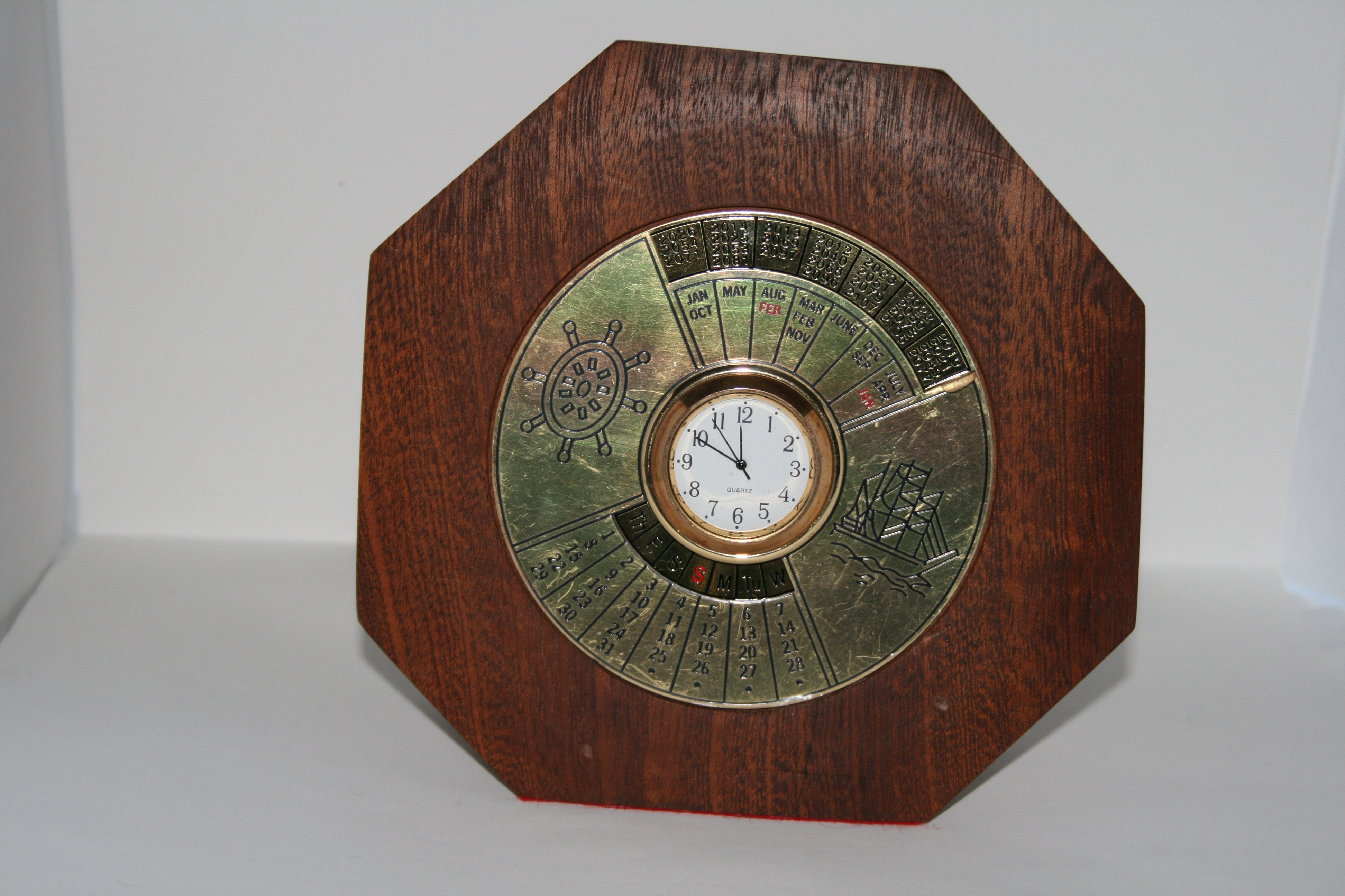 Table top 100year calendar and clock