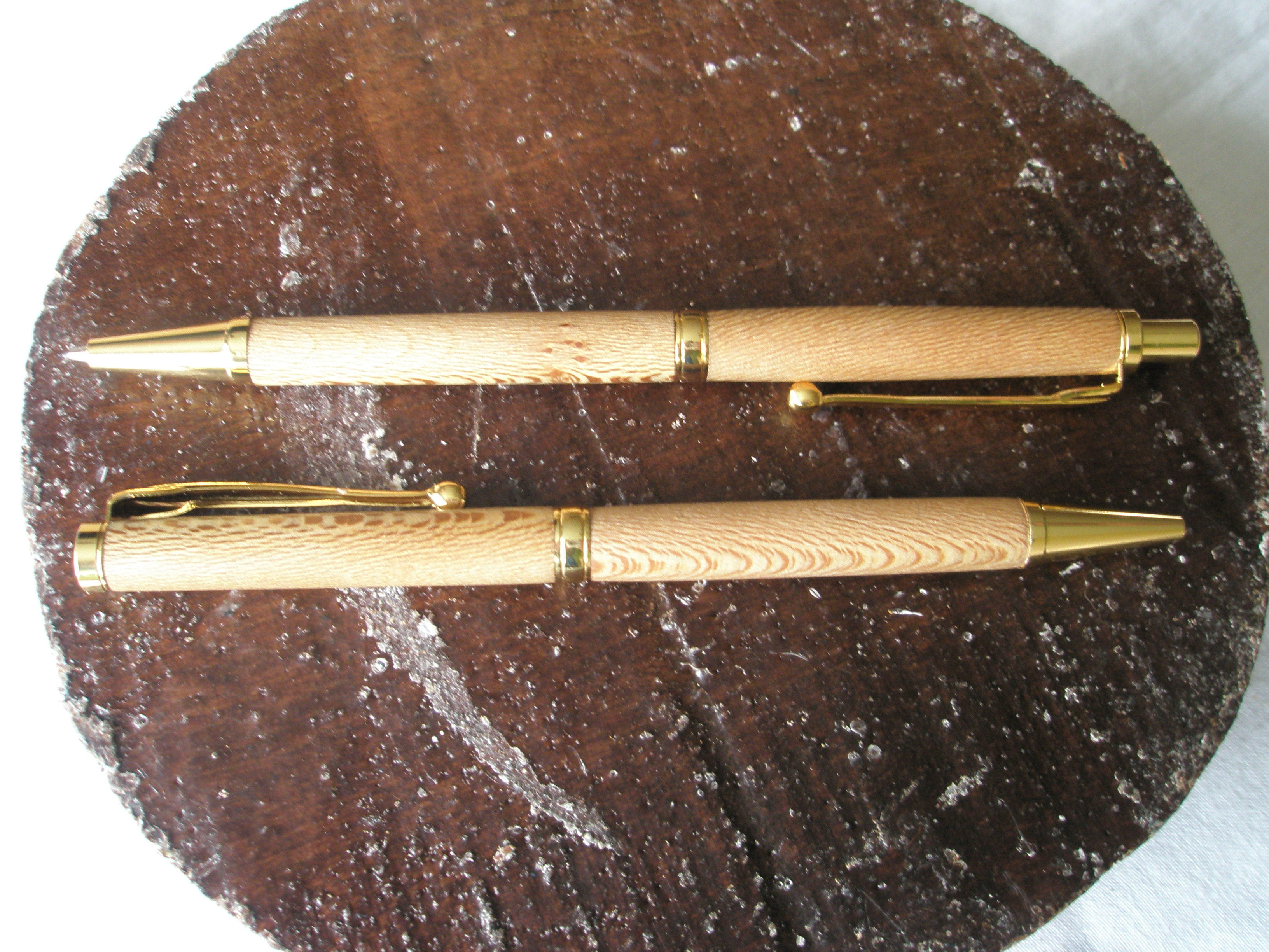 Pair of slimline pen and pencil set, in London Plain and 24carat Gold plated trimmings